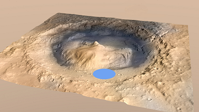 Curiosity landing site localisation in Gale Crater - © Nasa/JPL/Esa/DLR/FU Berlin/MSSS